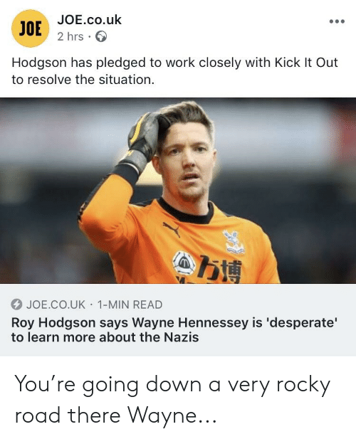 roy hodgson: JOE.co.uk  2 hrs  JOE  Hodgson has pledged to work closely with Kick It Out  to resolve the situation.  万博  JOE.CO.UK 1-MIN READ  Roy Hodgson says Wayne Hennessey is 'desperate'  to learn more about the Nazis You're going down a very rocky road there Wayne...