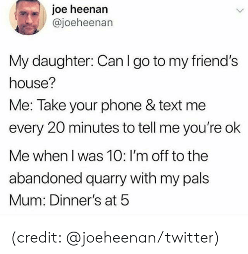 text me: joe heenan  @joeheenan  My daughter: Can I go to my friend's  house?  Me: Take your phone & text me  every 20 minutes to tell me you're ok  Me when I was 10: I'm off to the  abandoned quarry with my pals  Mum: Dinner's at 5 (credit: @joeheenan/twitter)