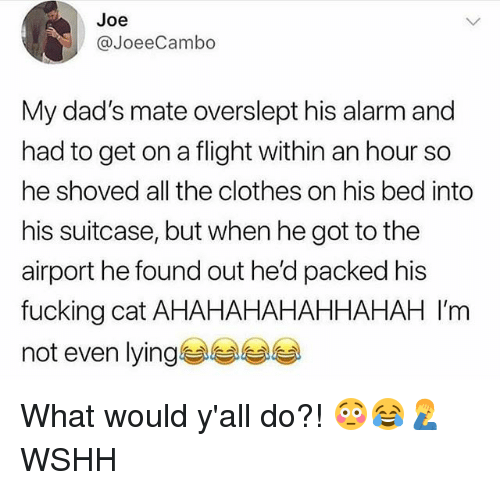 Overslept: Joe  @JoeeCambo  My dad's mate overslept his alarm and  had to get on a flight within an hour so  he shoved all the clothes on his bed into  his suitcase, but when he got to the  airport he found out he'd packed his  fucking cat AHAHAHAHAHHAHAH I'm  not even lying What would y'all do?! 😳😂🤦♂️ WSHH