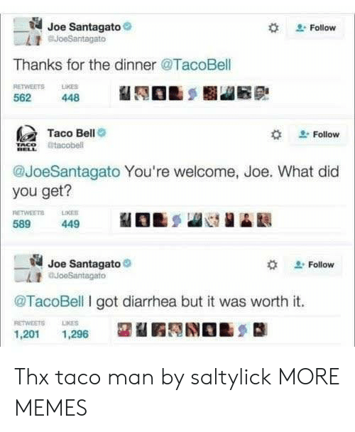 Dank, Memes, and Taco Bell: Joe Santagato  BJoeSantagato  Follow  Thanks for the dinner @TacoBell  RETWEETS LKES  562  448  Taco Bell  Follow  tacobell  @JoeSantagato You're welcome, Joe. What did  you get?  RETWEETS  589  LIKER  449  Joe Santagato  auoeSantagato  Follow  @TacoBell I got diarrhea but it was worth it.  RETWEETS  LIKES  1,201  1,296 Thx taco man by saltylick MORE MEMES