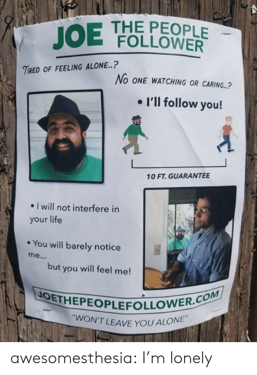 """follower: JOE  THE PEOPLE  FOLLOWER  TIRED OF FEELING ALONE..?  No ONE WATCHING OR CARING.?  . I'll follow you!  10 FT. GUARANTEE  . I will not interfere in  your life  * You will barely notice  but you will feel me!  JOETHEPEOPLEFOLLO  N'T LEAVE YOU ALONE"""" awesomesthesia:  I'm lonely"""