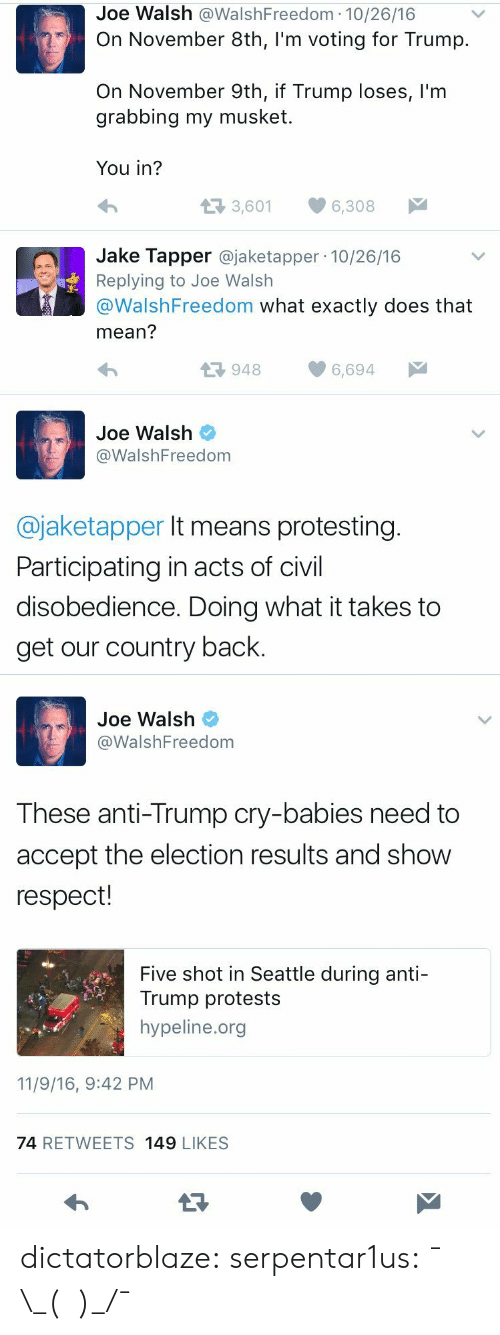 Participating: Joe Walsh @WalshFreedom 10/26/16  On November 8th, I'm voting for Trump.  On November 9th, if Trump loses, l'm  grabbing my musket  You in?  t3 3,601  6,308  Jake Tapper @jaketapper 10/26/16  Replying to Joe Walsh  @WalshFreedom what exactly does that  mean?  9486,694  Joe Walsh  @WalshFreedom  @jaketapper It means protesting  Participating in acts of civil  disobedience. Doing what it takes to  get our country back.   Joe Walsh  WalshFreedom  These anti-Trump cry-babies need to  accept the election results and show  respect!  Five shot in Seattle during anti-  Trump protests  hypeline.org  11/9/16, 9:42 PM  74 RETWEETS 149 LIKESS dictatorblaze:  serpentar1us:  ¯\_(ツ)_/¯