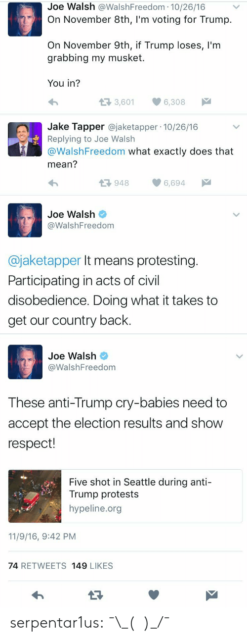 Participating: Joe Walsh @WalshFreedom 10/26/16  On November 8th, I'm voting for Trump.  On November 9th, if Trump loses, l'm  grabbing my musket  You in?  t3 3,601  6,308  Jake Tapper @jaketapper 10/26/16  Replying to Joe Walsh  @WalshFreedom what exactly does that  mean?  9486,694  Joe Walsh  @WalshFreedom  @jaketapper It means protesting  Participating in acts of civil  disobedience. Doing what it takes to  get our country back.   Joe Walsh  WalshFreedom  These anti-Trump cry-babies need to  accept the election results and show  respect!  Five shot in Seattle during anti-  Trump protests  hypeline.org  11/9/16, 9:42 PM  74 RETWEETS 149 LIKESS serpentar1us:  ¯\_(ツ)_/¯