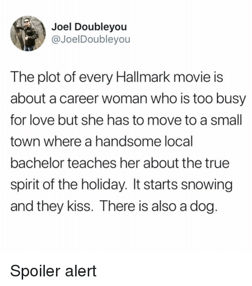 Hallmark: Joel Doubleyou  @JoelDoubleyou  The plot of every Hallmark movie is  about a career woman who is too busy  for love but she has to move to a small  town where a handsome local  bachelor teaches her about the true  spirit of the holiday. It starts snowing  and they kiss. There is also a dog Spoiler alert