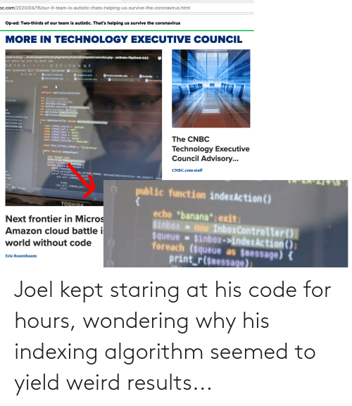 joel: Joel kept staring at his code for hours, wondering why his indexing algorithm seemed to yield weird results...