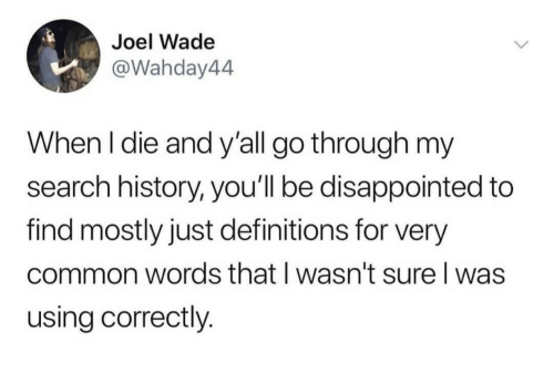 joel: Joel Wade  @Wahday44  When I die and y'all go through my  search history, you'll be disappointed to  find mostly just definitions for very  common words that I wasn't sure I was  using correctly.
