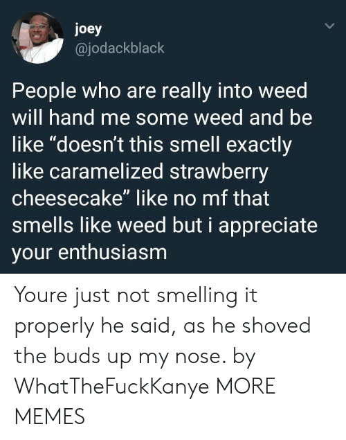 "Enthusiasm: joey  @jodackblack  People who are really into weed  will hand me some weed and be  like ""doesn't this smell exactly  like caramelized strawberry  cheesecake"" like no mf that  smells like weed but i appreciate  your enthusiasm Youre just not smelling it properly he said, as he shoved the buds up my nose. by WhatTheFuckKanye MORE MEMES"