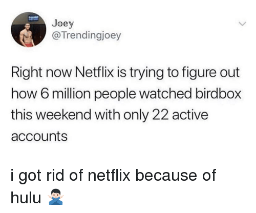 Hulu: Joey  @Trendingjoey  Right now Netflix is trying to figure out  how 6 million people watched birdbox  this weekend with only 22 active  accounts i got rid of netflix because of hulu 🙅🏻♂️