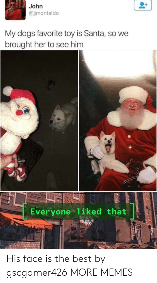 His Face: John  @jjmontaldo  My dogs favorite toy is Santa, so we  brought her to see him  Everyone 1iked that His face is the best by gscgamer426 MORE MEMES