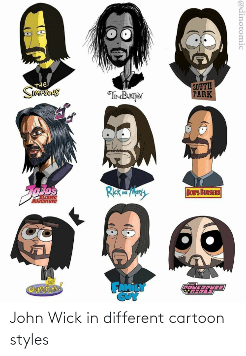 Cartoon: John Wick in different cartoon styles