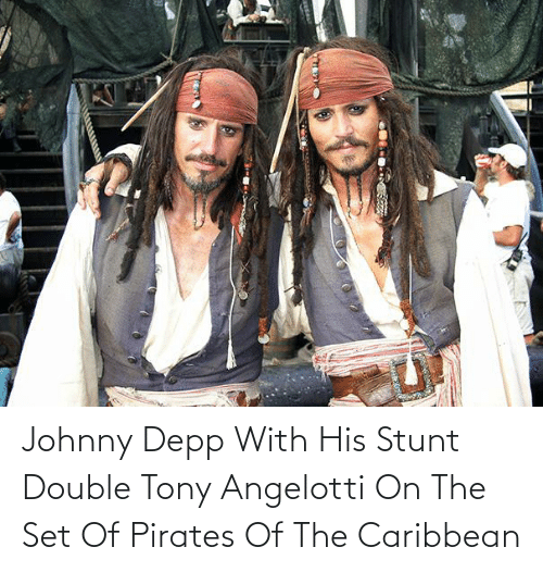pirates of the caribbean: Johnny Depp With His Stunt Double Tony Angelotti On The Set Of Pirates Of The Caribbean