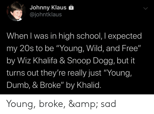 "Dumb, School, and Snoop: Johnny Klaus Ô  @johntklaus  When I was in high school, I expected  my 20s to be ""Young, Wild, and Free""  by Wiz Khalifa & Snoop Dogg, but it  turns out they're really just ""Young,  Dumb, & Broke"" by Khalid. Young, broke, & sad"