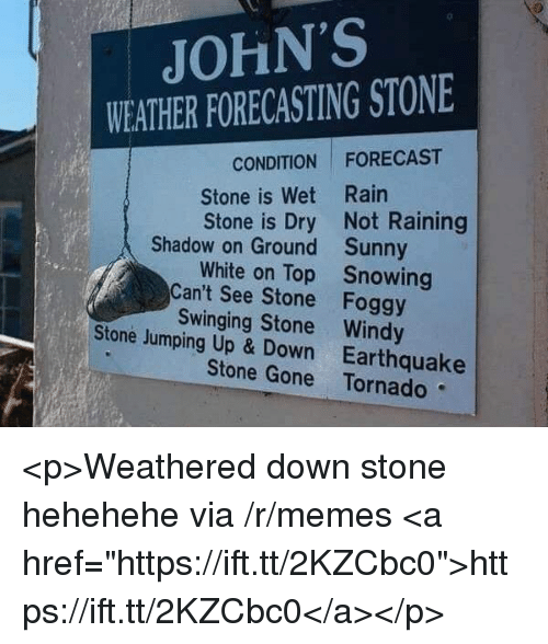 "up down: JOHN'S  WEATHER FORECASTING STONE  CONDITION FORECAST  Stone is Wet Rain  Stone is Dry Not Raining  Shadow on Ground  Can't See Stone  Stone Jumping Up & Down  Sunny  Snowing  Foggy  White on Top  Swinging Stone Windy  Earthquake  Stone Gone Tornado <p>Weathered down stone hehehehe via /r/memes <a href=""https://ift.tt/2KZCbc0"">https://ift.tt/2KZCbc0</a></p>"