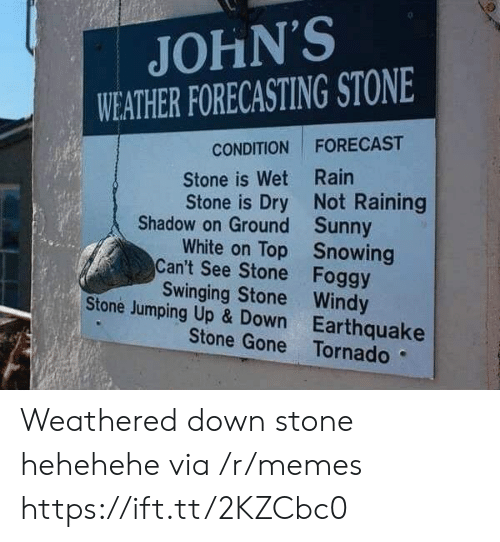 up down: JOHN'S  WEATHER FORECASTING STONE  CONDITION FORECAST  Stone is Wet Rain  Stone is Dry Not Raining  Shadow on Ground  Can't See Stone  Stone Jumping Up & Down  Sunny  Snowing  Foggy  White on Top  Swinging Stone Windy  Earthquake  Stone Gone Tornado Weathered down stone hehehehe via /r/memes https://ift.tt/2KZCbc0