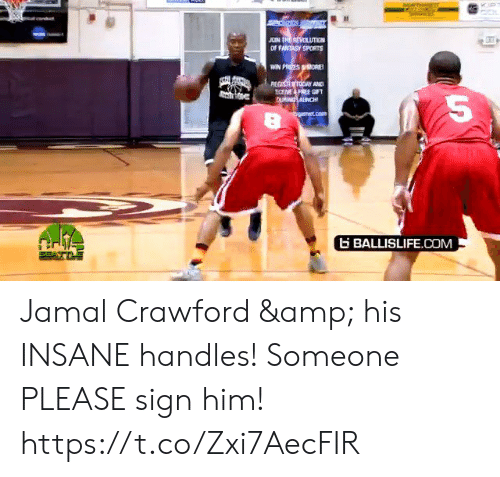 ballislife: JOIN TRE REVOLUTIEN  OF FANTASY SPORTS  WIN PRIZES ORE  REGISTER TODAY AND  ECEME FREE GIFT  CU ANCH  bgarmet.com  BALLISLIFE.COM Jamal Crawford & his INSANE handles! Someone PLEASE sign him! https://t.co/Zxi7AecFIR