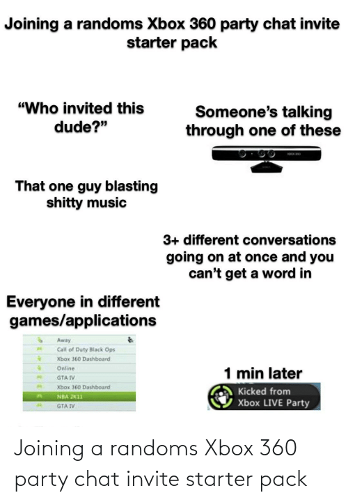 Xbox 360: Joining a randoms Xbox 360 party chat invite starter pack