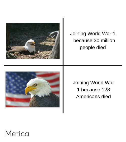 world war 1: Joining World War1  because 30 million  people died  Joining World War  1 because 128  Americans died Merica
