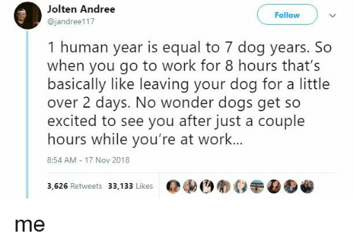 dog years: Jolten Andree  @jandree117  Follow  1 human year is equal to 7 dog years. So  when you go to work for 8 hours that's  basically like leaving your dog for a little  over 2 days. No wonder dogs get so  excited to see you after just a couple  hours while you're at work...  8:54 AM 17 Nov 2018  3,626 Retweets 33,133 LikesOEO me
