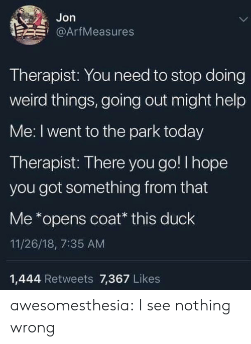 Tumblr, Weird, and Blog: Jon  @ArfMeasures  Therapist: You need to stop doing  weird things, going out might help  Me: I went to the park today  Therapist: There you go! I hope  you got something from that  Me *opens coat* this duck  11/26/18, 7:35 AM  1,444 Retweets 7,367 Likes awesomesthesia:  I see nothing wrong