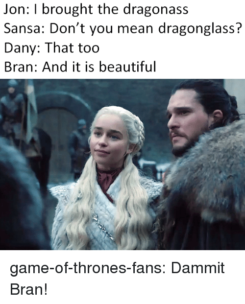sansa: Jon: I brought the dragonass  Sansa: Don't you mean dragonglass?  Dany: That too  Bran: And it is beautiful game-of-thrones-fans:  Dammit Bran!