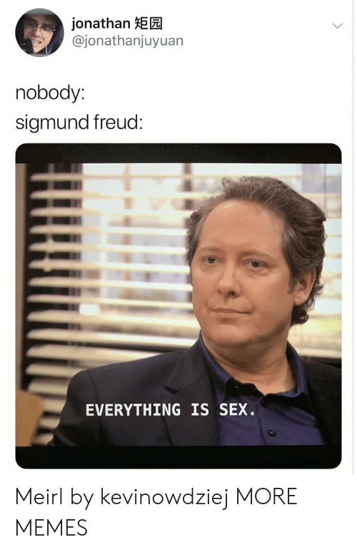 Dank, Memes, and Sex: jonathan HEE  @jonathanjuyuan  nobody:  sigmund freud:  EVERYTHING IS SEX. Meirl by kevinowdziej MORE MEMES