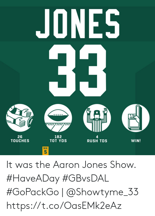 Memes, Rush, and 🤖: JONES  33  182  TOT YDS  26  TOUCHES  WIN!  RUSH TDS  WK  5 It was the Aaron Jones Show. #HaveADay #GBvsDAL  #GoPackGo | @Showtyme_33 https://t.co/OasEMk2eAz
