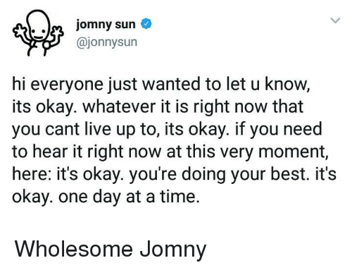 Doing Your Best: @jonnysun  hi everyone just wanted to let u know,  its okay. whatever it is right now that  you cant live up to, its okay. if you need  to hear it right now at this very moment,  here: it's okay. you're doing your best. it's  okay. one day at a time. <p>Wholesome Jomny</p>