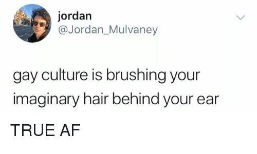 Af, Memes, and True: jordan  @Jordan_Mulvaney  gay culture is brushing your  imaginary hair behind your ear TRUE AF