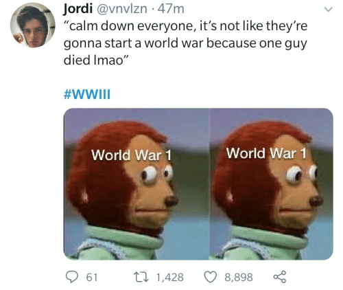 "Its Not: Jordi @vnvlzn · 47m  ""calm down everyone, it's not like they're  gonna start a world war because one guy  died Imao""  #WWIII  World War 1  World War 1  27 1,428  61  8,898"