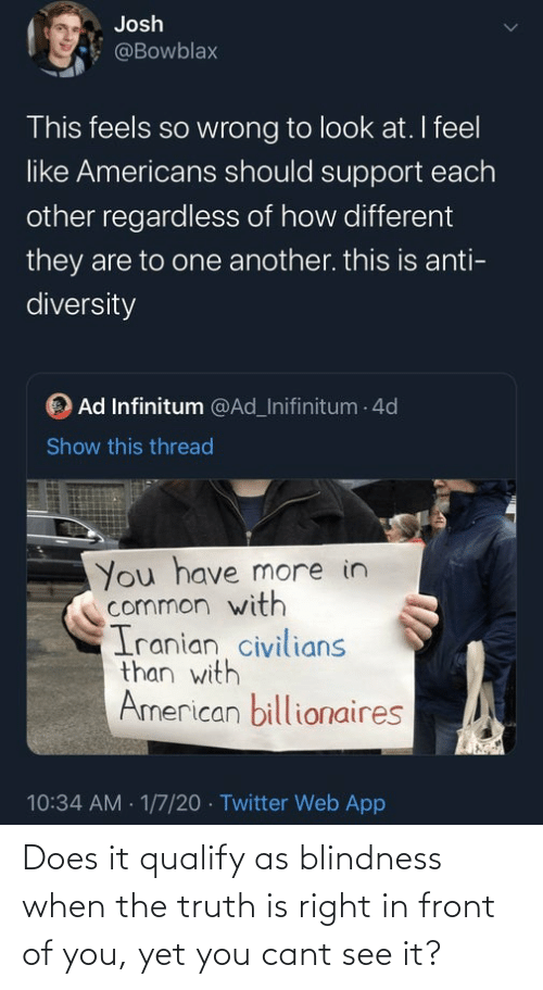 Civilians: Josh  @Bowblax  This feels so wrong to look at. I feel  like Americans should support each  other regardless of how different  they are to one another. this is anti-  diversity  OAd Infinitum @Ad_Inifinitum - 4d  Show this thread  You have more in  common with  Iranian civilians  than with  American billionaires  10:34 AM 1/7/20 Twitter Web App Does it qualify as blindness when the truth is right in front of you, yet you cant see it?