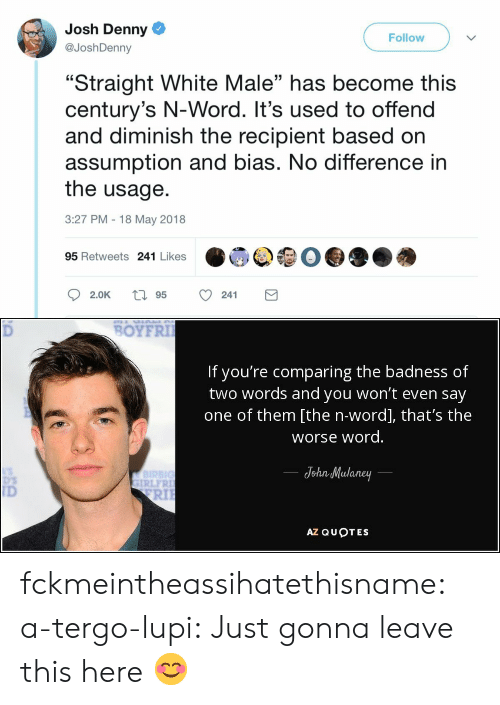 """Just Gonna: Josh Denny  @JoshDenny  Follow  """"Straight White Male"""" has become this  century's N-Word. It's used to offend  and diminish the recipient based on  assumption and bias. No difference in  the usage.  3:27 PM 18 May 2018  03  95 Retweets 241 Likes   BOYFRI  If you're comparing the badness of  two words and you won't even say  one of them [the n-word], that's the  worse word  JohnMulaney  IRLFR  ID  RIl  AZ QUOTES fckmeintheassihatethisname: a-tergo-lupi: Just gonna leave this here 😊"""