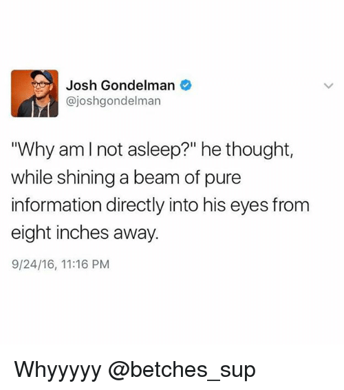 """Pured: Josh Gondelman  @joshgondelman  """"Why amlnot asleep?"""" he thought,  while shining a beam of pure  information directly into his eyes from  eight inches away  9/24/16, 11:16 PM Whyyyyy @betches_sup"""