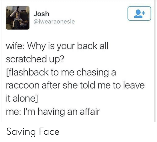 Being Alone, Raccoon, and Wife: Josh  @iwearaonesie  wife: Why is your back all  scratched up?  [flashback to me chasing a  raccoon after she told me to leave  it alone]  me: I'm having an affair Saving Face