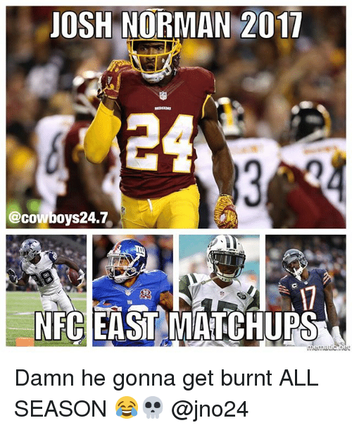 normans: JOSH NORMAN 2017  @cowboy s24.7  NECEASTMATCHUPS Damn he gonna get burnt ALL SEASON 😂💀 @jno24