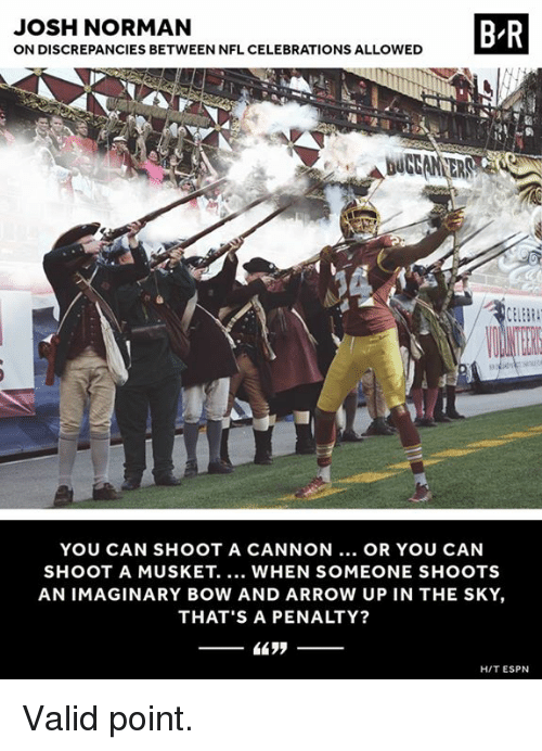 normans: JOSH NORMAN  ON DISCREPANCIES BETWEEN NFL CELEBRATIONS ALLOWED  B R  YOU CAN SHOOT A CANNON... OR YOU CAN  SHOOT A MUSKET. WHEN SOMEONE SHOOTS  AN IMAGINARY BOW AND ARROW UP IN THE SKY,  THAT'S A PENALTY?  HIT ESPN Valid point.