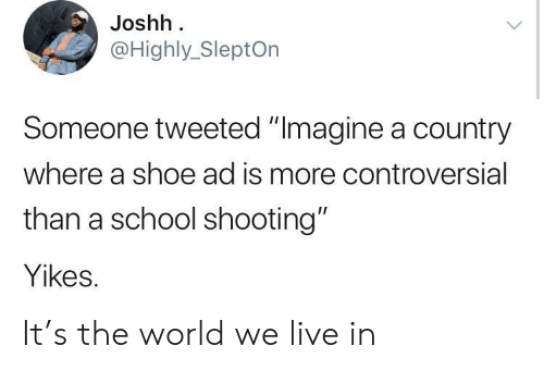 "school shooting: Joshh  @Highly_SleptOn  Someone tweeted ""Imagine a country  where a shoe ad is more controversial  than a school shooting""  Yikes. It's the world we live in"