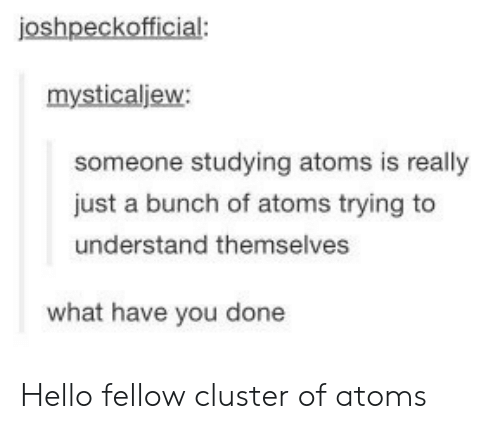 What Have You: joshpeckofficial:  mysticaljew:  someone studying atoms is really  just a bunch of atoms trying to  understand themselves  what have you done Hello fellow cluster of atoms