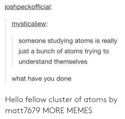 What Have You: joshpeckofficial:  mysticaljew:  someone studying atoms is really  just a bunch of atoms trying to  understand themselves  what have you done Hello fellow cluster of atoms by matt7679 MORE MEMES