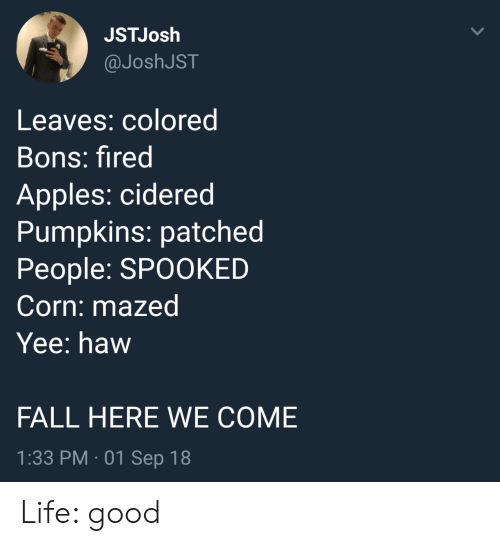 Spooked: JSTJosh  @JoshJST  Leaves: colored  Bons: fired  Apples: cidered  Pumpkins: patched  People: SPOOKED  Corn: mazed  Yee: haw  FALL HERE WE COME  1:33 PM 01 Sep 18 Life: good