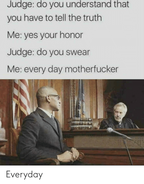 do you understand: Judge: do you understand that  you have to tell the truth  Me: yes your honor  Judge: do you swear  Me: every day motherfucker Everyday