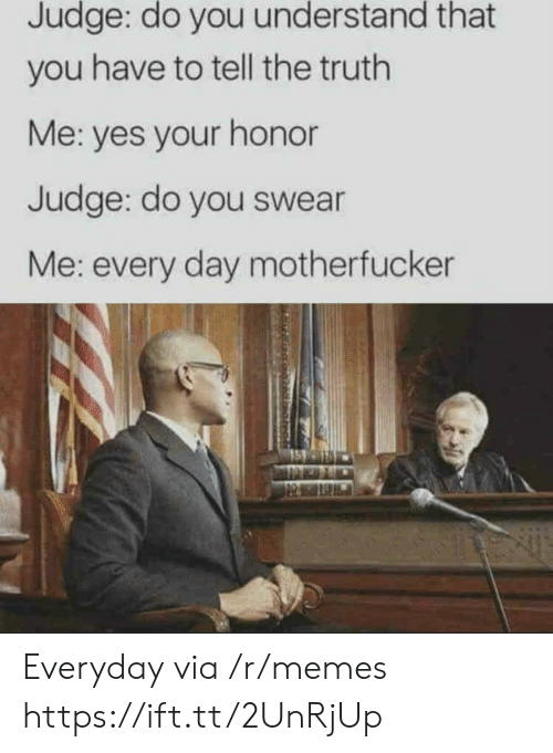 Memes, Truth, and Yes: Judge: do you understand that  you have to tell the truth  Me: yes your honor  Judge: do you swear  Me: every day motherfucker Everyday via /r/memes https://ift.tt/2UnRjUp