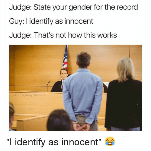 """Thats Not How This Works: Judge: State your gender for the record  Guy: I identify as innocent  Judge: That's not how this works  G: TheFunnyintrovert """"I identify as innocent"""" 😂"""