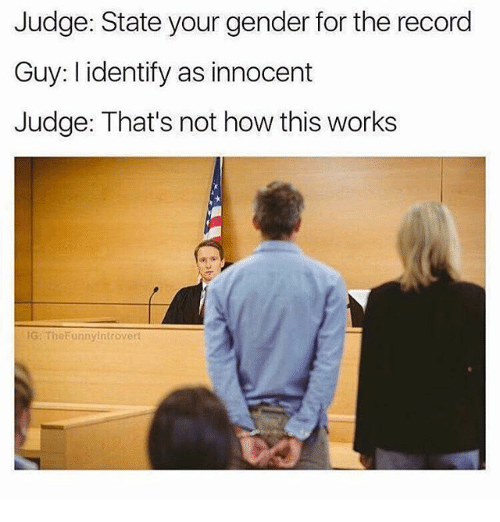 Not How This Works: Judge: State your gender for the record  Guy: I identify as innocent  Judge: That's not how this works  G: TheFunnyintrovert