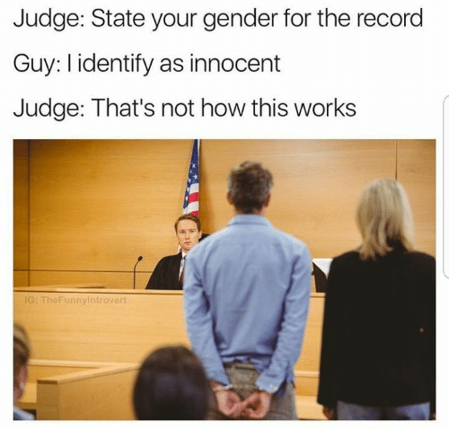 Record, How, and Gender: Judge: State your gender for the record  Guy: I identify as innocent  Judge: That's not how this works  G: TheFunnyintrovert