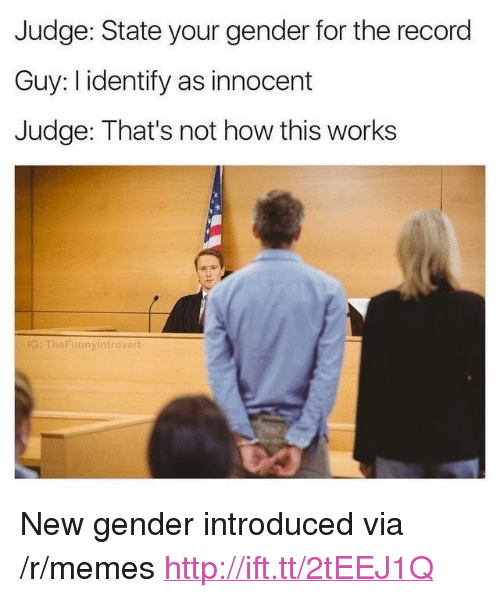 "Not How This Works: Judge: State your gender for the record  Guy: I identify as innocent  Judge: That's not how this works  IG: TheFunnyintrovert <p>New gender introduced via /r/memes <a href=""http://ift.tt/2tEEJ1Q"">http://ift.tt/2tEEJ1Q</a></p>"