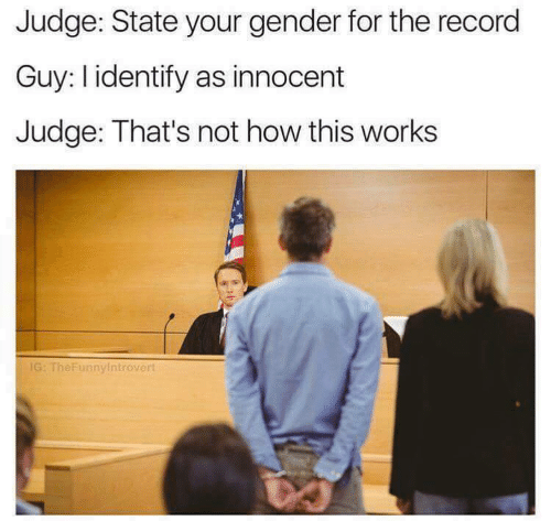 Not How This Works: Judge: State your gender for the record  Guy: l identify as innocent  Judge: That's not how this works  IG: TheFunnyintrovert