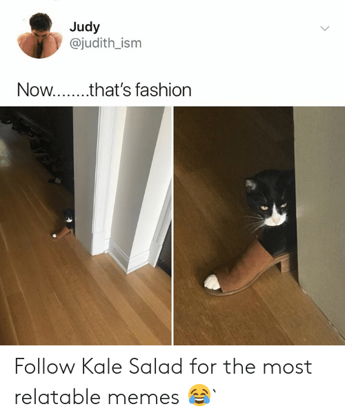 Relatable Memes: Judy  @judith_ism  Now.. that's fashion Follow Kale Salad for the most relatable memes 😂`