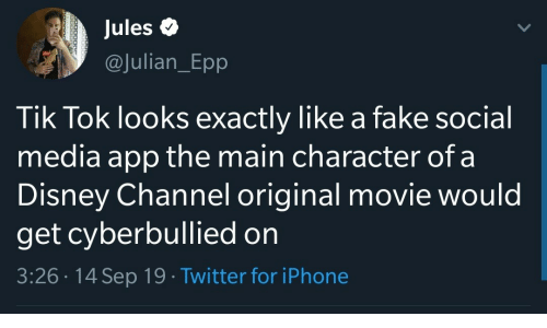 Disney, Fake, and Iphone: Jules  @Julian_Epp  Tik Tok looks exactly like a fake social  media app the main character of a  Disney Channel original movie would  get cyberbullied on  3:26 14 Sep 19 Twitter for iPhone