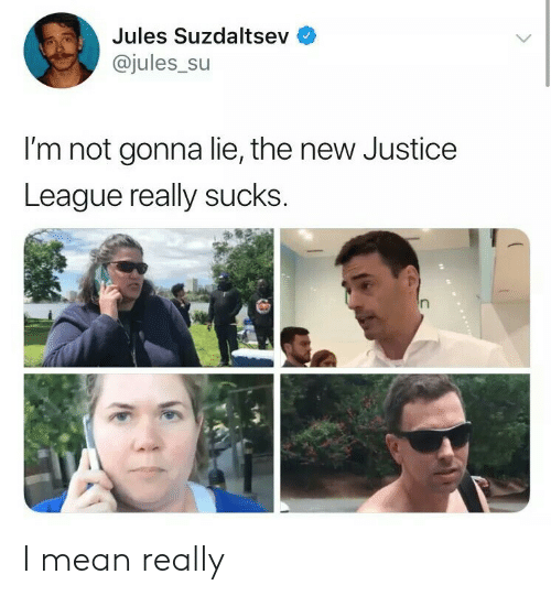 Justice League: Jules Suzdaltsev  @jules_su  I'm not gonna lie, the new Justice  League really sucks I mean really