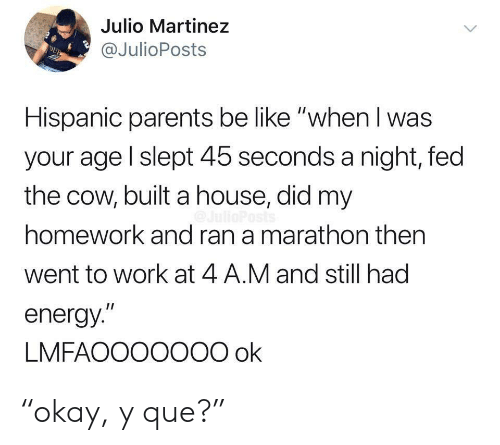 "When I Was Your Age: Julio Martinez  @JulioPosts  DUB  Hispanic parents be like ""when I was  your age l slept 45 seconds a night, fed  the cow, built a house, did my  homework and ran a marathon then  went to work at 4 A.M and still had  energy.""  LMFAOOO0O00 ok ""okay, y que?"""
